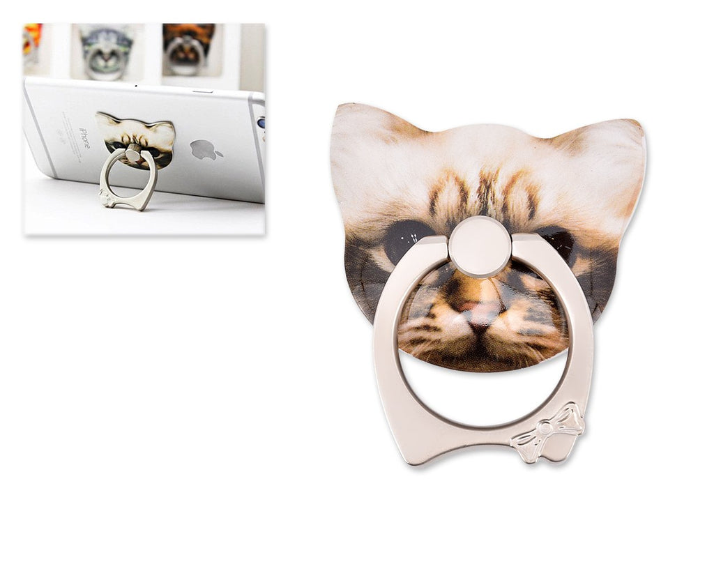 Cat Face Series Universal Metal Ring Grip Stand - E