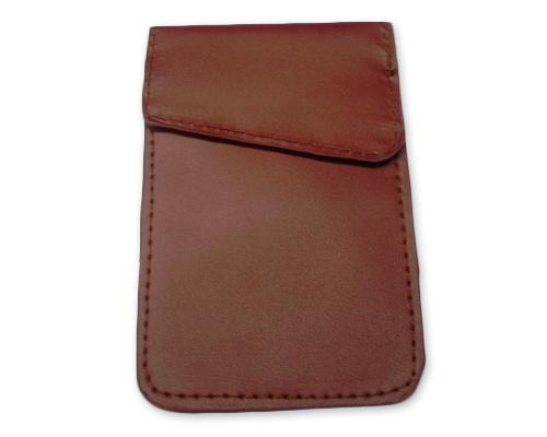 Anti-Radiation/ Signal Blocking Leather Pouch for Smartphone - Brown