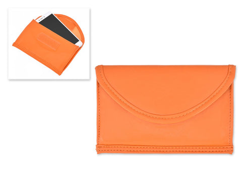 Leather Cell Phone Anti-Radiation Signal Blocker Pouch Case Bag-Orange