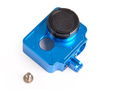 Protective Aluminum Case w/Lens Cap for Xiaomi Yi Action Camera -Blue