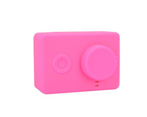Protective Silicone Case/ Lens Cap for Xiaomi Yi Action Camera-Magenta