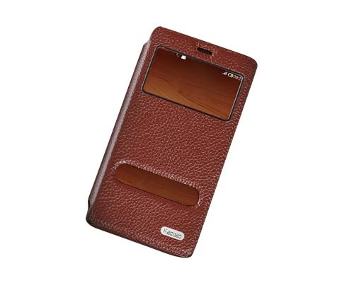 Eyelet Series Amazon Fire Phone Flip Leather Case - Deep Brown