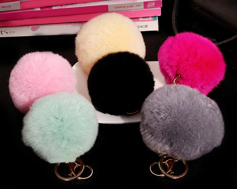 6 Pcs Fluffy Fur Ball Keychain