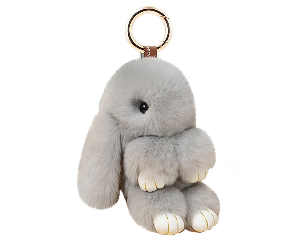 Cute Rex Rabbit Fur Keychain - Gray