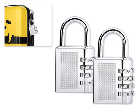 2 Pieces Resettable Combination Locks 4 Digit Gym Padlocks - Silver