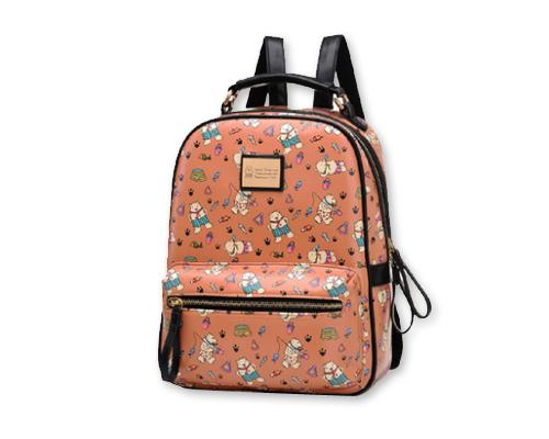 Cute Cartoon PU Leather Backpack with Built-In Handle - Khaki