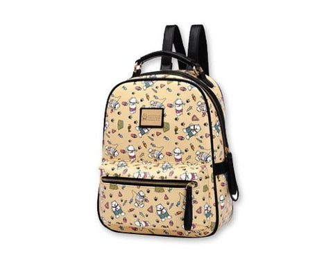 Cute Cartoon PU Leather Backpack with Built-In Handle - Beige