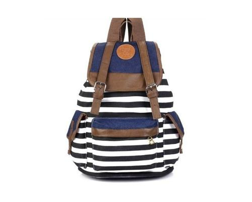 Sailor Stripes Drawstring Rucksack - Black