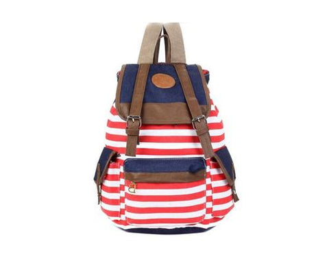 Sailor Stripes Drawstring Rucksack - Red