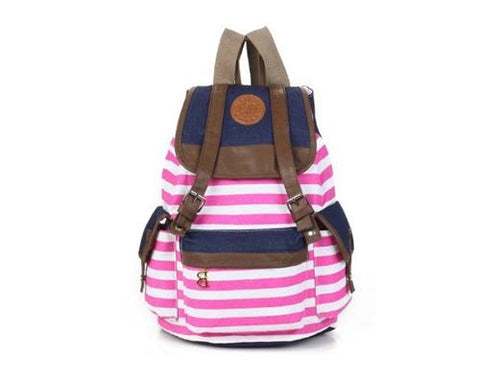 Sailor Stripes Drawstring Rucksack - Pink