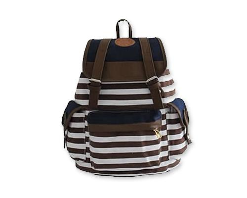 Sailor Stripes Drawstring Rucksack - Brown
