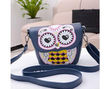 Cartoon Owl Print PU Leather Shoulder Bag - Blue