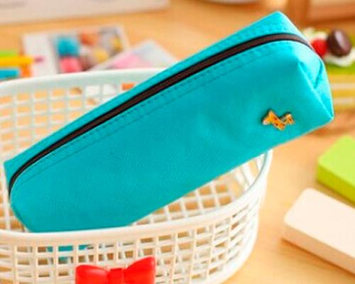 Lovely Deer Candy Color Students Stationery Bag - Blue