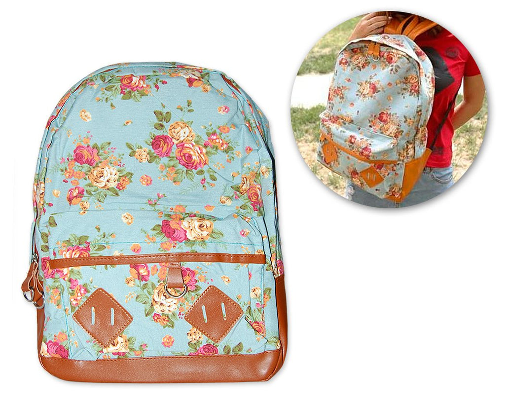 Floral Print Canvas Backpack - Blue