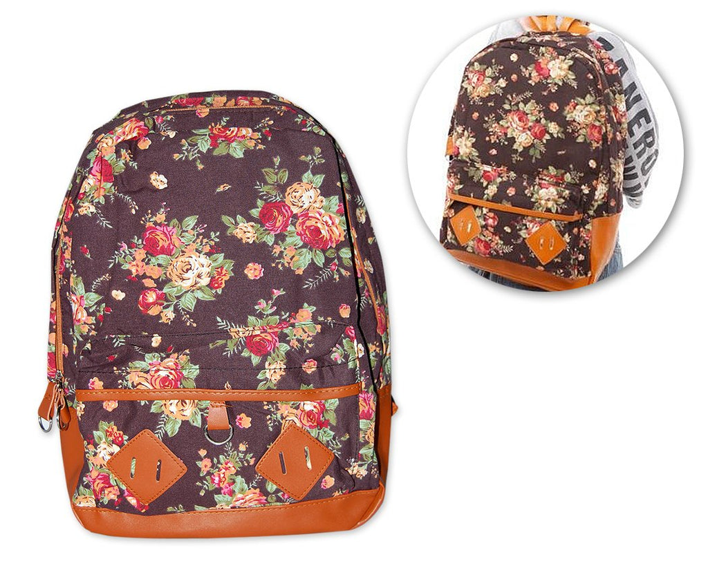 Floral Print Canvas Backpack - Deep Brown