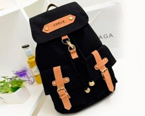 Korean Style Drawstring Rucksack - Black