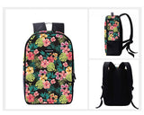 Flower Print Casual Travel Backpack - Black