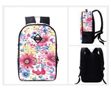 Flower Print Casual Travel Backpack - Pink