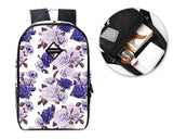 Flower Print Casual Travel Backpack - Purple