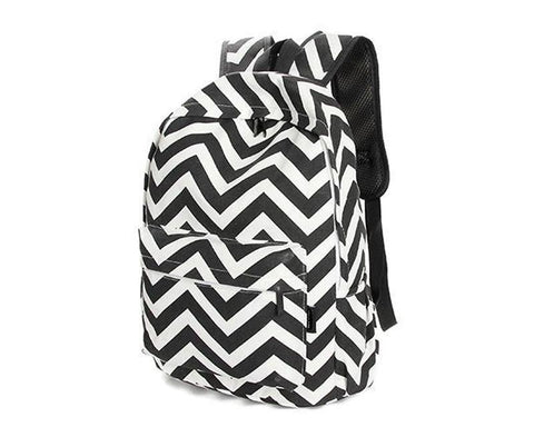 Stripe Print Casual Canvas Backpack - Black