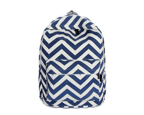 Stripe Print Casual Canvas Backpack - Blue