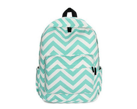 Stripe Print Casual Canvas Backpack - Green
