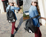 Cute Fox Cartoon PU Leather Casual Backpack - Black