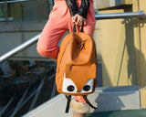 Fox Cartoon PU Leather Casual Backpack - Coffee