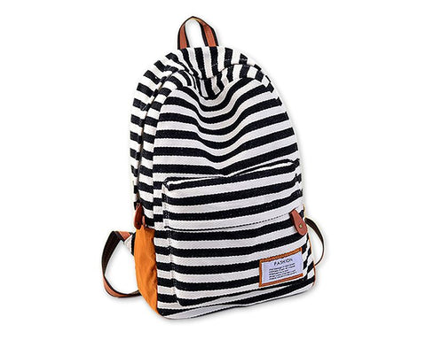 Stripe Print Korean Style Canvas Rucksack - Black