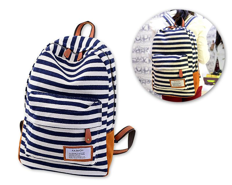 Stripe Print Korean Style Canvas Rucksack - Dark Blue