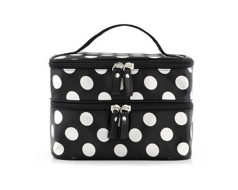 Double Layer Dots Pattern Makeup Bag with Mirror - Black