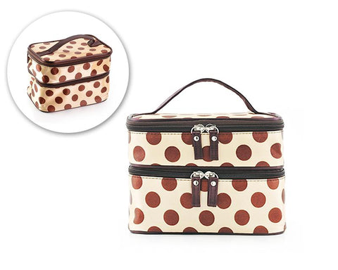 Double Layer Dots Pattern Makeup Bag with Mirror - Beige