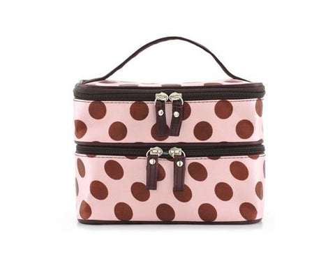 Double Layer Dots Pattern Makeup Bag with Mirror - Pink