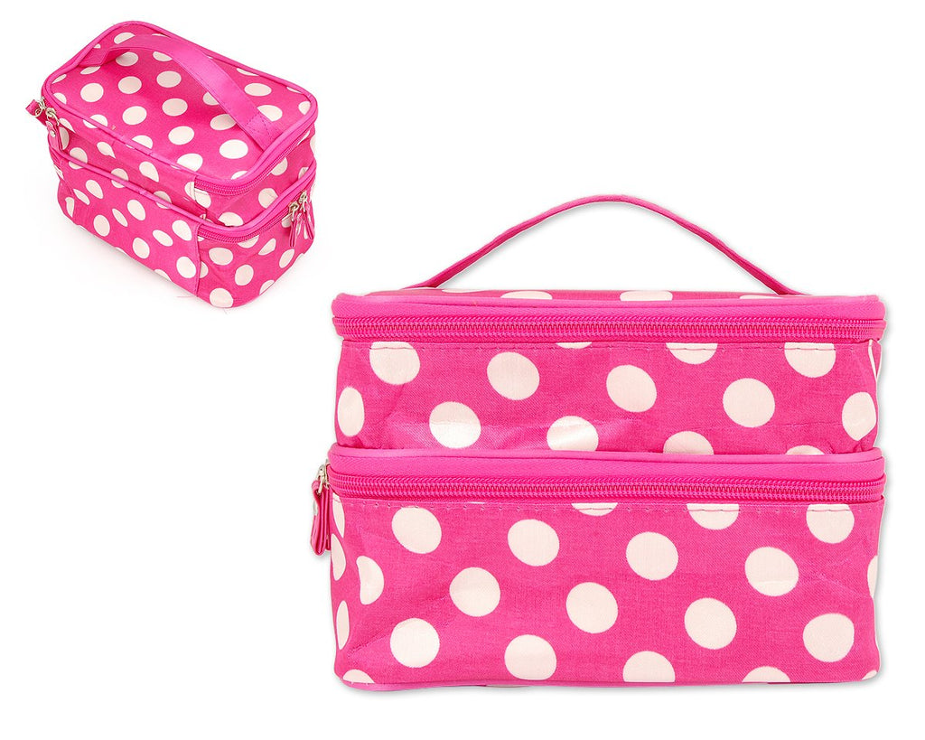 Double Layer Dots Pattern Makeup Bag with Mirror - Magenta