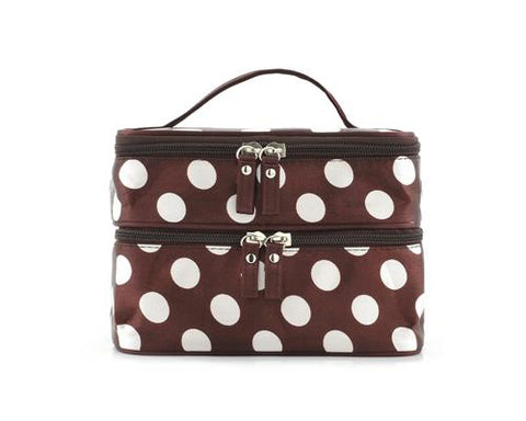 Double Layer Dots Pattern Makeup Bag with Mirror - Brown