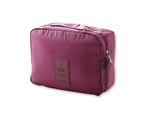 Multi-functional Nylon Travel Makeup Bag - Burgundy