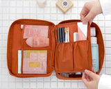 Multi-functional Nylon Travel Makeup Bag - Orange