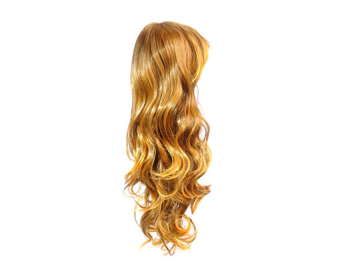 Heat Resistant Long Curly Wig with Side Swept Bangs - Brown