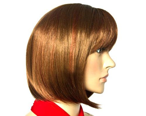Heat Resistant Short Straight Hair Wig with Side Swept Bangs - Brown