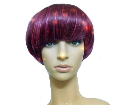 Heat Resistant Short Bob Style Highlight Straight Hair Wig - Wine Red