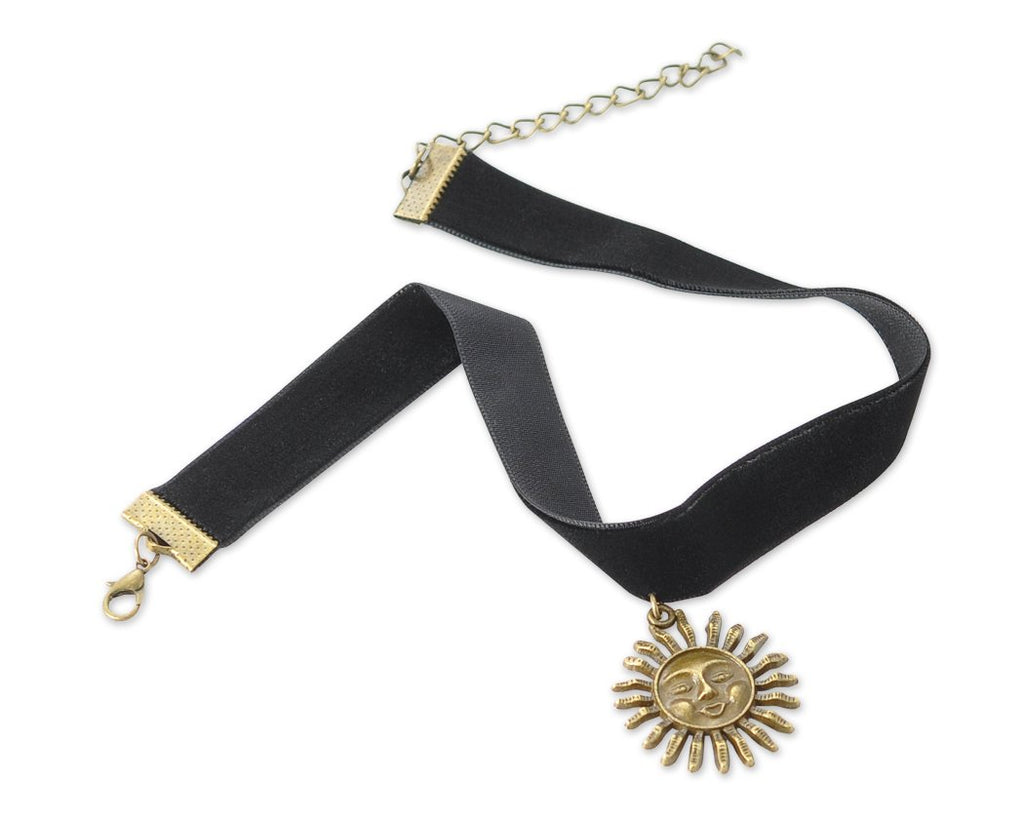 Retro Punk Goth Velvet Ribbon Gorgeous Choker Necklace-Bronze Sun