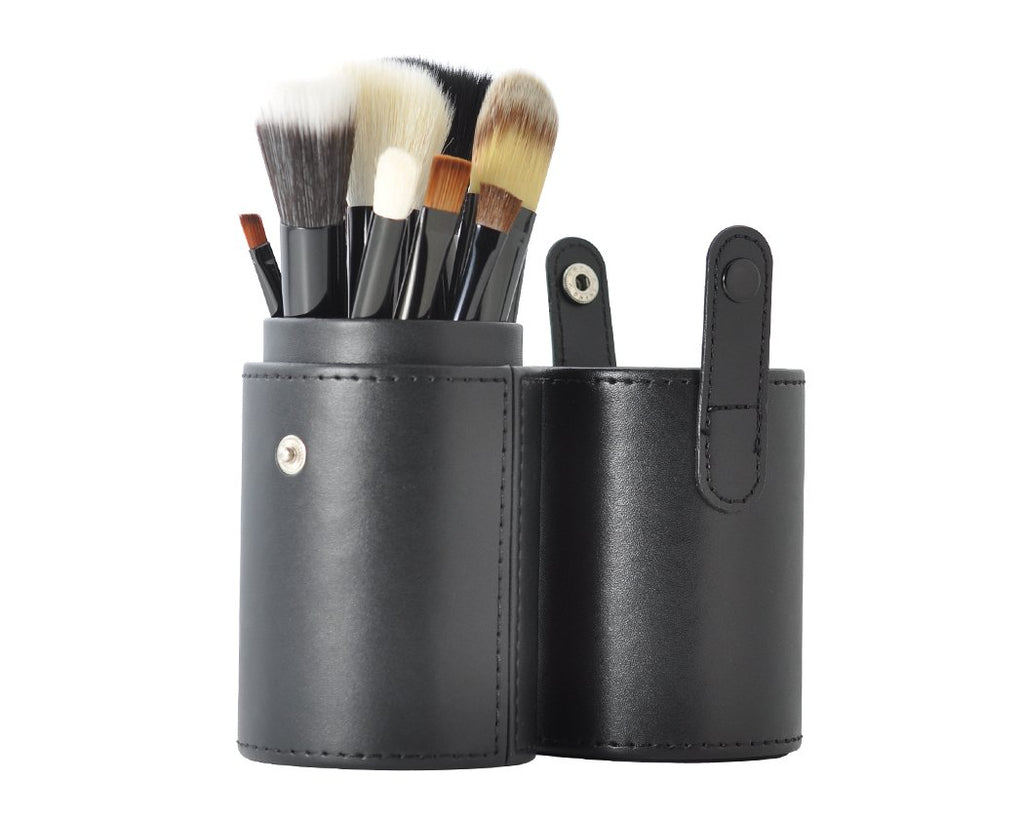 12 Pcs Professional Makeup Brush Set with Cup Holder - Black