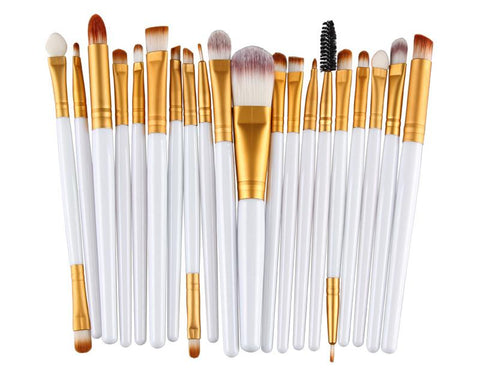20 Pcs Professional Makeup Brush Set - White