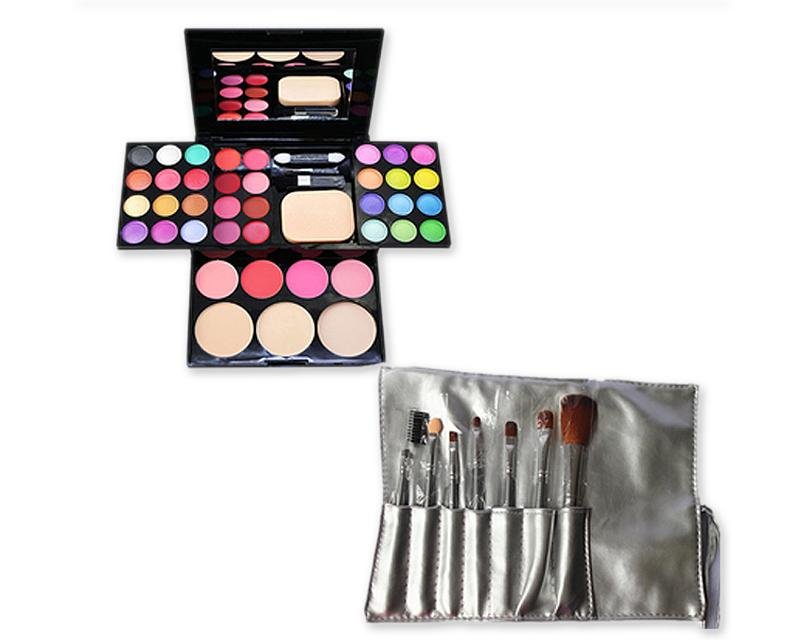 Makeup Combo Set including Brushes and Palette for Beginners - Grey