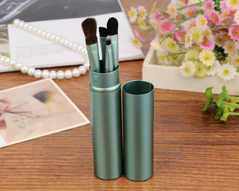5 Pcs Professional Makeup Brush Set with Cyclinder Tube - Green