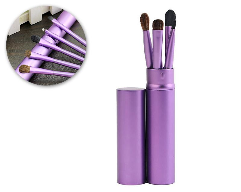 5 Pcs Professional Makeup Brush Set with Cyclinder Tube - Purple