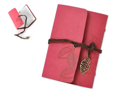Leaf Pattern Leather Card Holder - Red