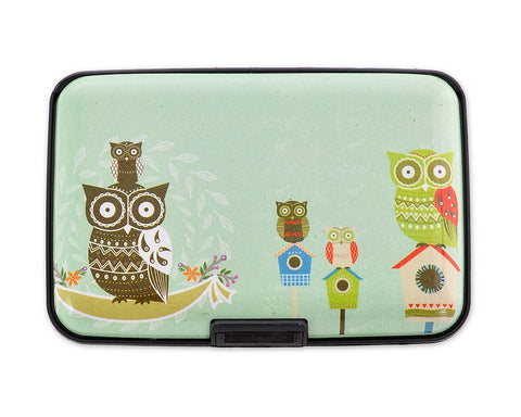 Owl Printed Business Card Case - Blue