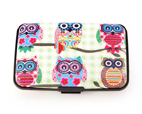 Owl Printed Business Card Case - Green