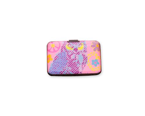 Owl Printed Business Card Case - Purple